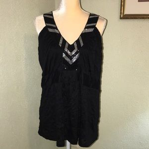 Torrid Black & Silver Sequined Tank Size 1X
